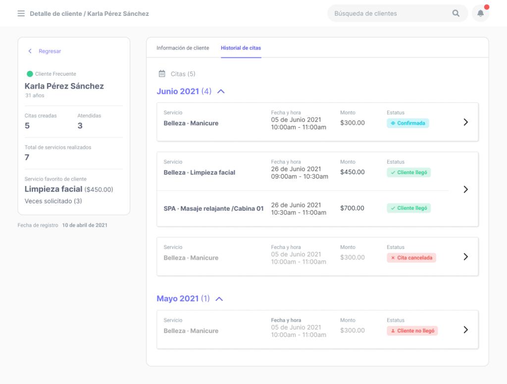Clear - Sistema Integrado - Pantalla con historial de clientes